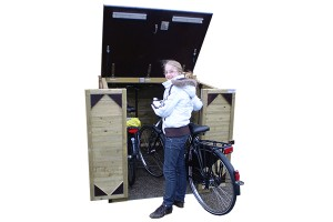 Maak gebruik van een fietsenhok in de voortuin